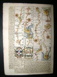 Owen & Bowen C1740 Road Map. Hampshire, Dorset. Winchester, Southampton. Poole